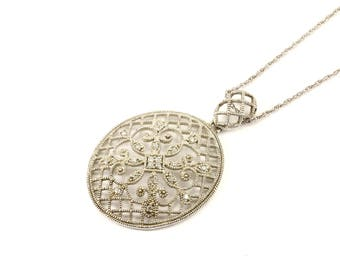 Vintage Crystal Design Necklace 925 Sterling Silver NC 1368