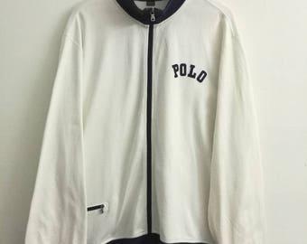 Rare POLO Ralph Lauren Jacket Track Top Zip Up Oversize Hip Hop Rap Spell Out White Colour