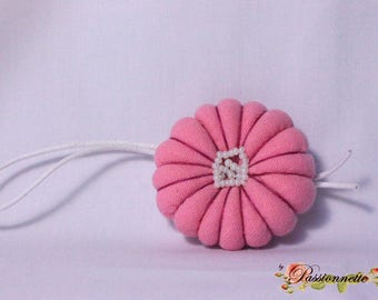 Pink fabric flower for hanging / keychain