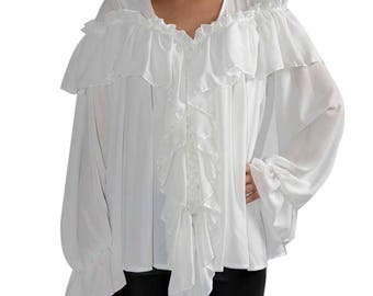SALE Asymmetric Shirt / Extravagant White Top / Tunic with Long Ribbons / Loose Top