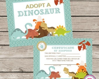 Dinosaur Pet Adoption Certificate Adopt a Pet Dino Birthday Party Ideas Adoption Station Stuffed Animal Prehistoric Roar Volcano Sign Dig