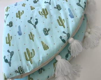Baby play mat, tummy time, cactus, picnic rug, baby boy, round