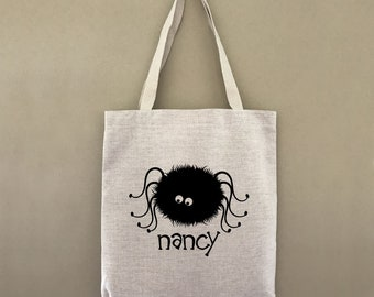 Custom Tote Bag Trick Or Treat Spider Customizable Personalized Gift For Her Gift For Him Halloween Tote Trick or Treating Spider Tote Bag