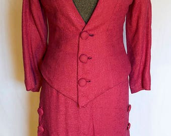 RESERVED** SOLD** 3rd payment** 1930s Raspberry Linen Art Deco Suit with Terrific Chevron & Button Details