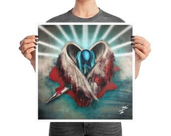 Fallen Angel Heart Retro Glitch Poster, 10x10, 12x12, 18x18, Modern Abstract Decor, Grunge Print