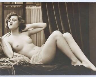 Original french photo PC RISQUE plain back postcard NUDE erotic erotique woman femme nue cpa mandel