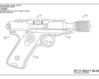 Greedo's DT-12 Heavy Blaster Schematic Drawing