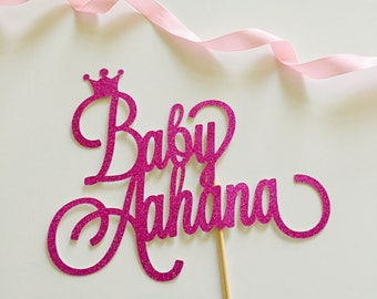 Personalised Baby Cake Topper or Personalised Baby Last Name Topper.