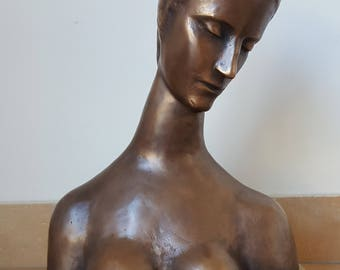 Bronze Sculpture signed W. Lehmbruck Reclining Figure: Head of youth