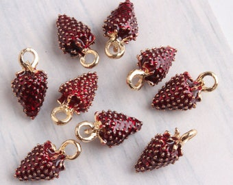 10pcs/lot Cute Golden Mulberry Leaves Charms Pendant Jewelry,Oil Mulberry or Strawberry Fruit Charms Diy Accessories
