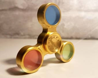 Brass Fidget Spinner Red Green Blue (RGB) Exclusive Trendy Accessory Trinity