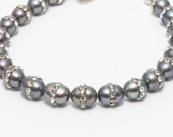 Moonlight Shine - Adjustable  Peal and Crystal Bracelet