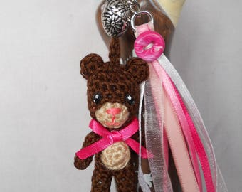 Handbag brown bears and pink and white ribbons