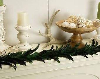 Decorative Feather Garland with Green Bead Accents - GRXHBB70--K