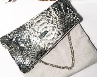 Snake skin fold over clutch purse evening bag
