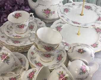 Tranquillity by Royal Albert Tea Set for Six Excellent Vintage with Teapot Cake Stand 23 Pieces Free Shipping in USA