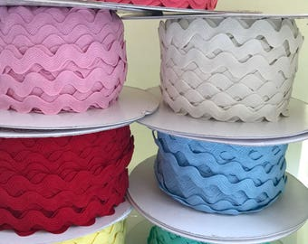 Ric rac trim, sewing, pastels, 10mm ric, fun and decorative