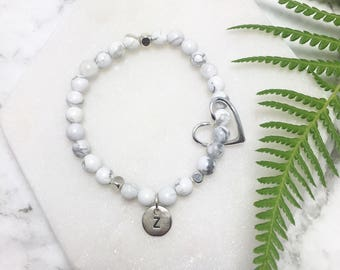 Silver Initial Marble Bracelet