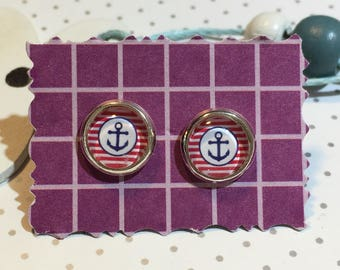 """Maritime Stud Earrings Cabochon """"anchor striped"""""""