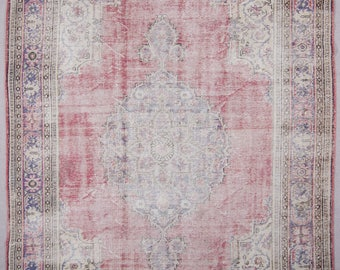 """MS-28 Turkish handmade Oushak Natural Vintage rug.,340 x225 cm / 7' 3"""" x 11' 1"""" ft. Shipping included.."""