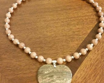 Handmade one of a kind Jasper Heart pendant, with Jade beads.