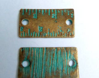 5 bronze and green 21x12mm ruler connectors