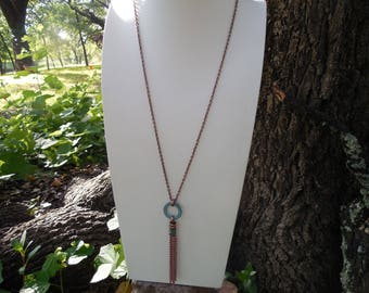 Antiqued Copper and Green Patina Necklace With Tassel