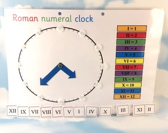Roman numeral clock learning sheet, KS2, Matching game, maths aid, year 3, moving clock, removable pieces, key stage 2, school work