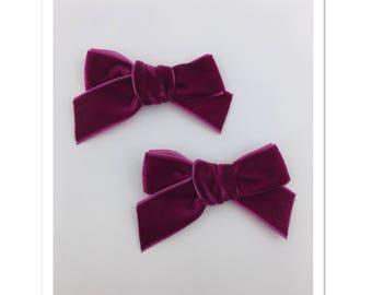 Raspberry • Handtied Velvet Ribbon • Pigtail Set • Piggy Set • Single Prong Hair Clips • Dark Pink •