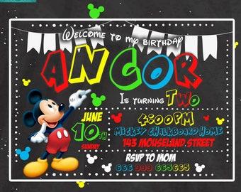 Mickey mouse chalkboard printable digital invitation, mickey mouse personalized, mickey party, birthday, digital card, customized, custom