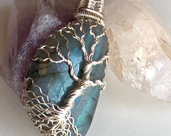 Blue Flash Labradorite Tree of Life Pendant
