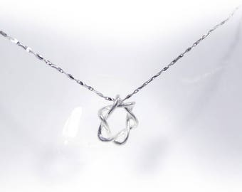 Twist Line Star Necklace in Solid Sterling 925 Silver (SN016)