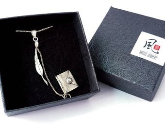 Feather Pen Love Letter Necklace in Solid Sterling 925 Silver (SN009)