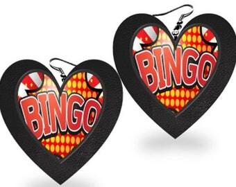 Free Shipping - Bingo Theme -  Heart Shaped Statement Earrings. Faux Leather Back  #BIN700