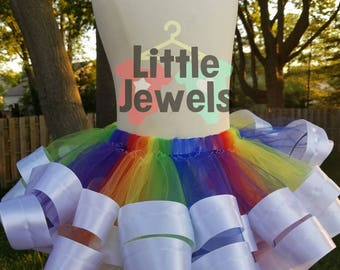 Rainbow Pride Ribbon Trim Tutu Skirt!