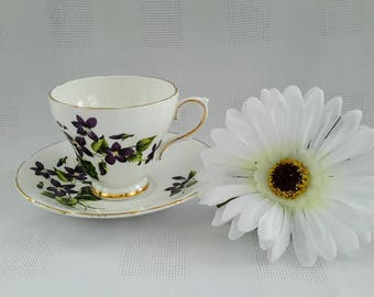 Delphine Teacup and Saucer Set, Violets, Made in England