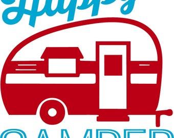 Retro happy camper vinyl car decal