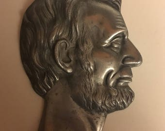 Bronze Head Relief of Abraham Lincoln Wall Decor