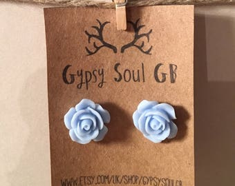 Flower earrings, rose earrings, blue earrings, blue flower, christmas present, stocking filler, gift for girls,