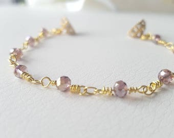 LILAC MINI • Golden bracelet with lilac crystals • twist closure ball