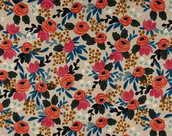 Cotton + Steel Les Fleurs - Rosa Natural Linen Canvas - Rifle Paper Co Fabric - 8012-12 - Floral Home Decor Fabric - Canvas Upholstery