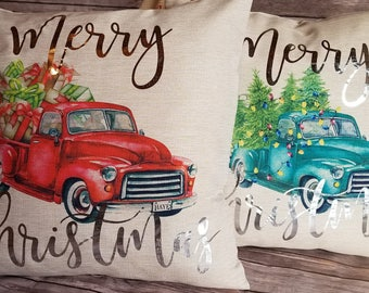 Christmas Vintage Truck Pillow Cover