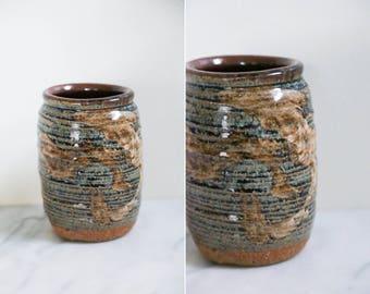 Vintage Handmade Brown Indigo Ceramic Vase // Plant Pot