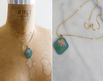 Vintage White Dandelion Pendant and Gold plated Chain
