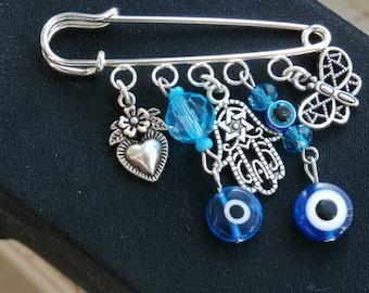 Baby Stroller pin charm, Evil Eye Baby Pin Brooch, Evil Eye Safety Pin, Hamsa Pin, Baby Shower Gift,  Mom to be gift
