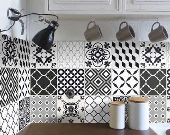 Tile Decals Carrelage Stickers Kitchen Bathroom Marocan Black White Set 12 Pcs Wall Tattoo Wall