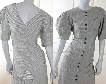 German Vintage Midi Dress, Black White Check Knee-Length Short-Sleeve 1980s Cotton Dress: Size 10 US, Size 14 UK