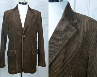 Brown Corduroy Blazer, Dutch Vintage Single-Breasted Chocolate Brown Cotton Cord Sports Coat Jacket: Size Medium, 38 US/UK