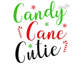 Candy Cane Cutie, Candy Cane SVG, Christmas SVG, Merry Christmas, Christmas, Holidays, Cutting Machine, Snowflakes, INSTANT Download
