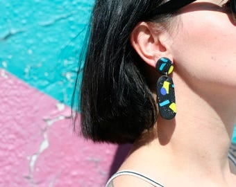 Dangle earrings, abstract style, funky earrings, statement earrings, polymer earrings, earrings, memphis design inspired